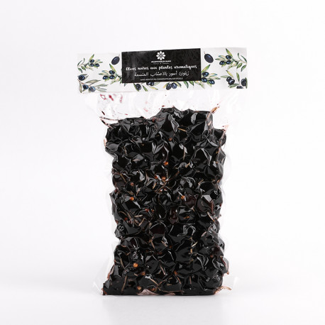 Olives noires aux plantes aromatiques sous vide